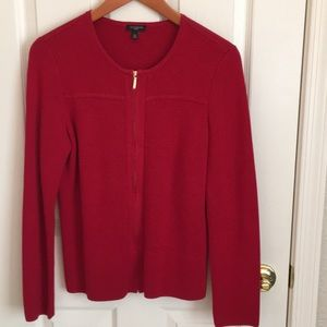 Talbots red zip front knit sweater jacket MP
